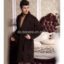 Valable Herren Fleece Bademantel mit großem Revers